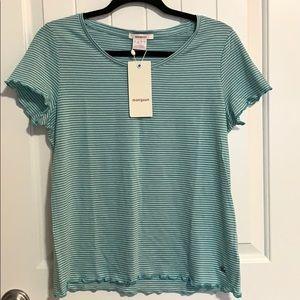 Women's. T shirt. Striped. Summer. Spring. Ruffle
